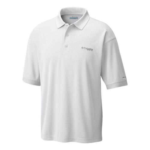 New $55 Columbia mens Shields River PFG fishing UPF 30 SS polo shirt White