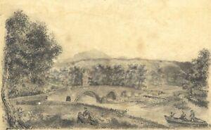 G. Osborne, Bridge Near Castle Ruins – Early 19th-century graphite drawing