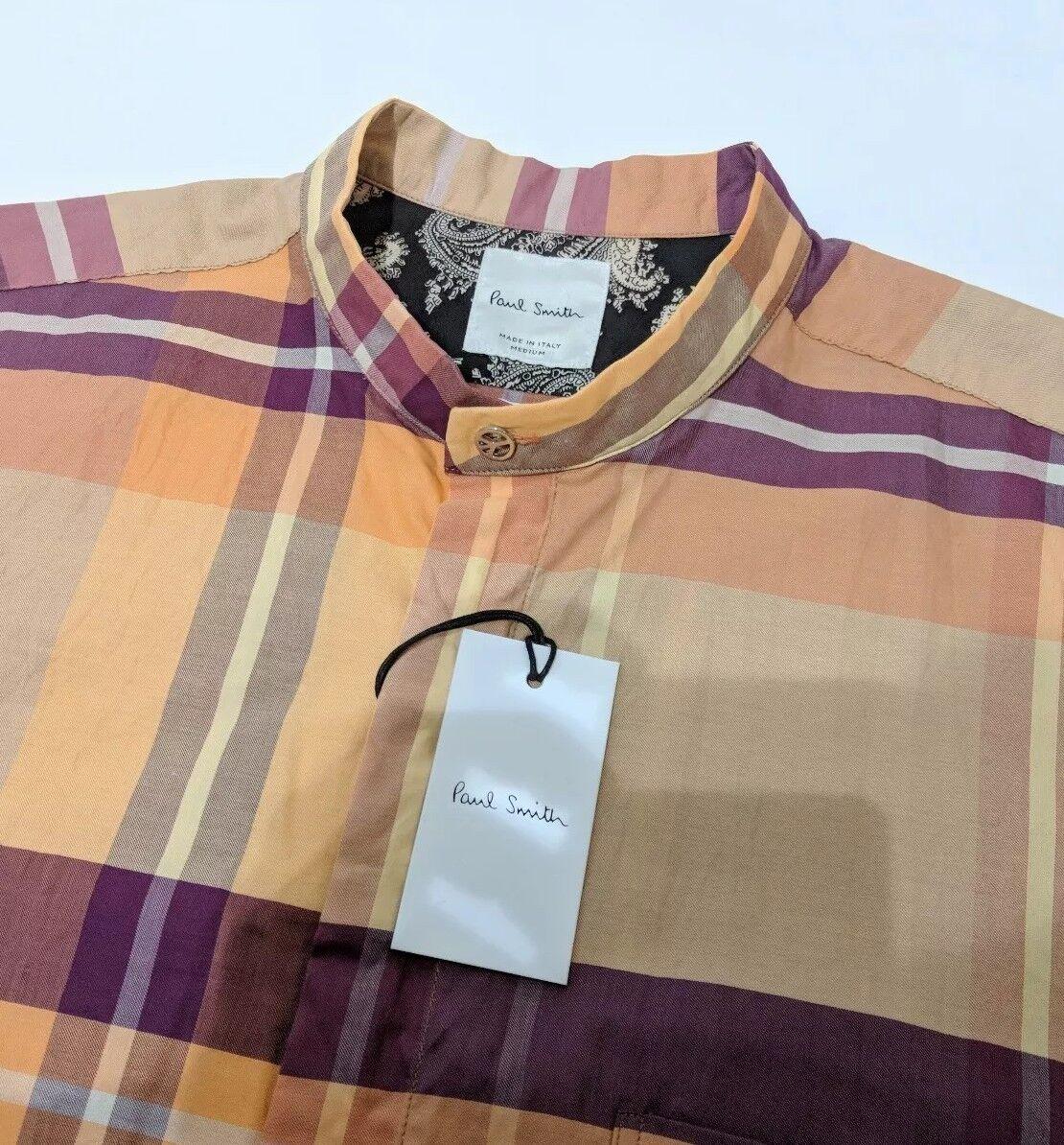 Paul Smith Mens Shirt Grandad Check Mainline  Peace Symbol Sz M New RP£270