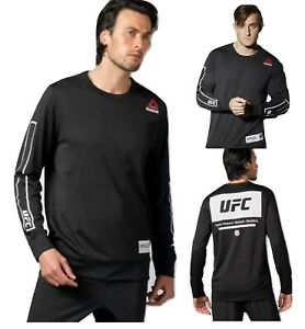 Reebok-UFC-Fan-Men-039-s-Long-Sleeve-Crew-Mesh-Pullover-MMA-Sweatshirt-Black