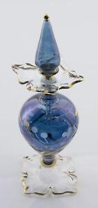 Flachmann Fläschchen A Parfüm Öl Gläser Mundgeblasen D'Ägypten 16.5cm Blume Blue