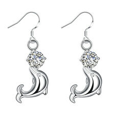 Free 925 Sterling Solid Silver CZ Animal dolphins earrings #W135