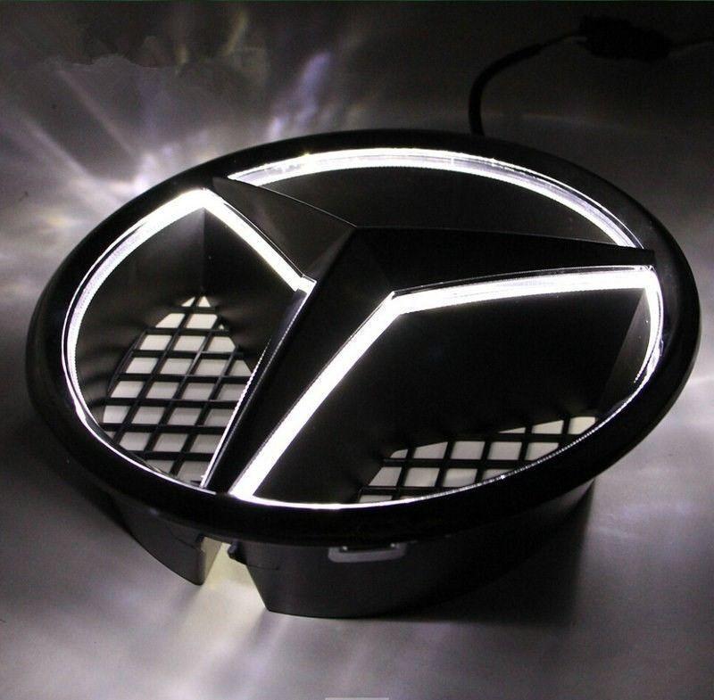 Front grille grill star emblem illuminated led light for for Mercedes benz emblem light