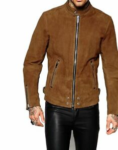 New-Soft-Lambskin-Motorcycle-Biker-Suede-Leather-Jacket-Cafe-Racer-Vest-721
