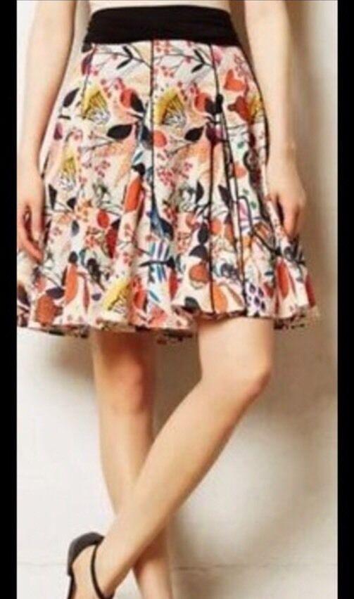 Anthropologie Eva Franco Songbird Swing Skirt 8 Rare New