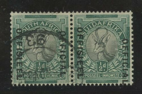 SOUTH AFRICA OFFICIAL ERROR 1930 MISPLACED OVERPRINT..MISMATCH SE TENANT PAIR L1