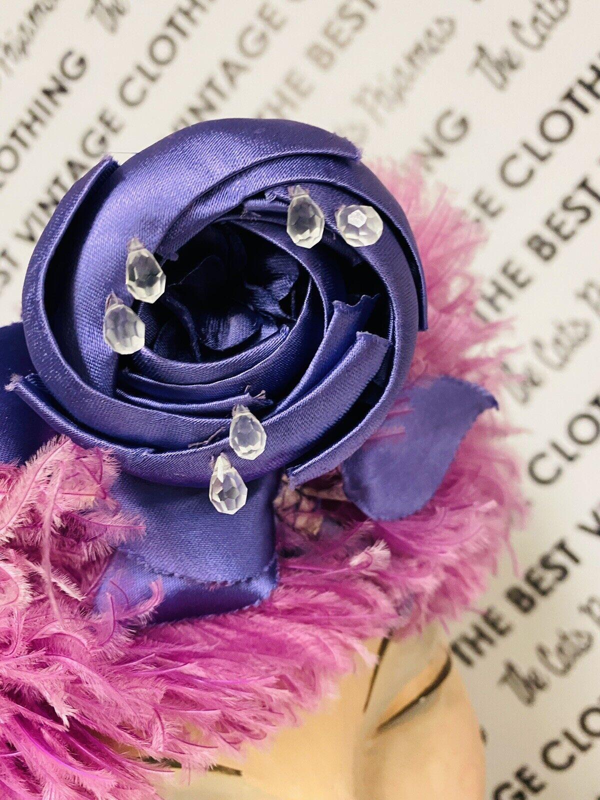 VINTAGE 1940's SUZY LEE Purple Feather Flowers Ha… - image 9