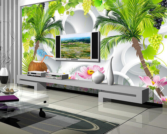 3D Coconut Flowers 93 Wallpaper Mural Paper Wall Print Wallpaper Murals UK Carly