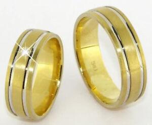 Echt-Gold-Eheringe-Trauringe-585-Goldgelb-amp-Weissgold-14-Kt-Massiv-mit-Diamant