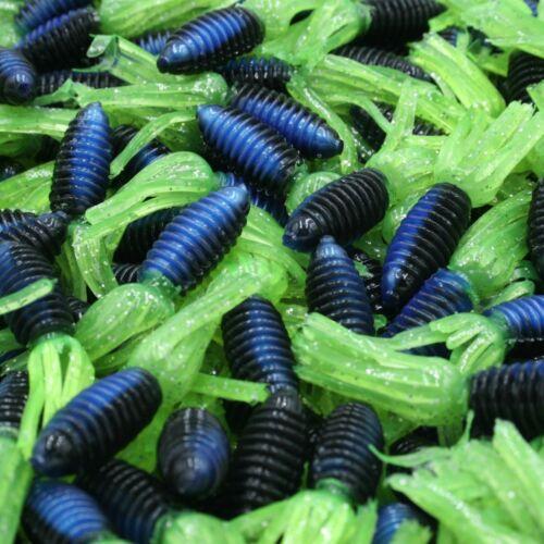 "1.75/"" Black Blue Chartreuse Slab Nabbers Ribbed Crappie Panfish Fishing Baits"