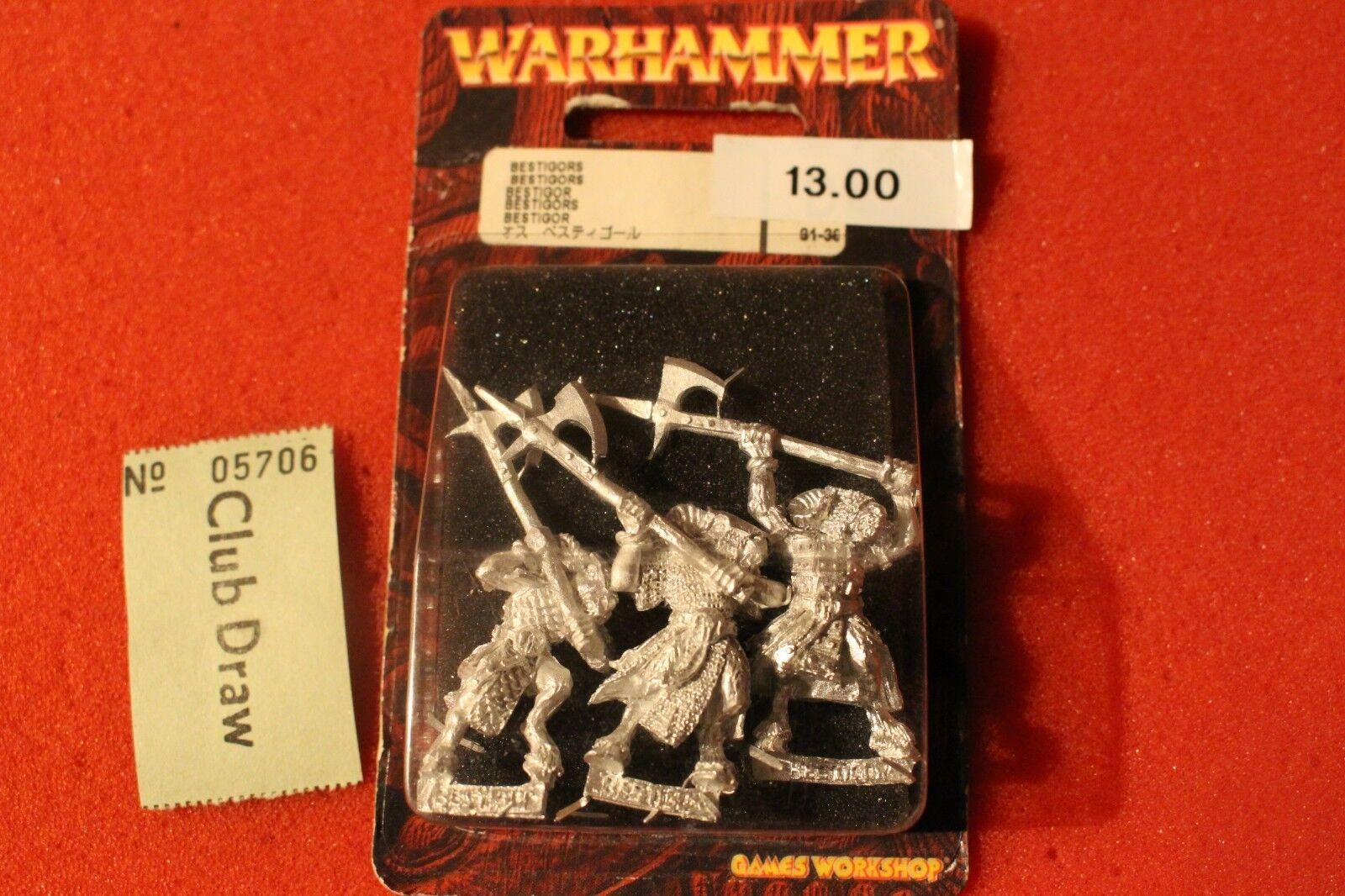 Games Workshop Warhammer Beastmen Bestigors Gors 3x Metal Figures BNIB New OOP