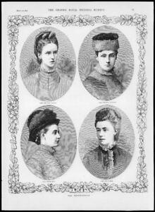 1879-Antique-Print-ROYALTY-Bridesmaids-Taylour-Edgcumbe-Hay-Russell-194