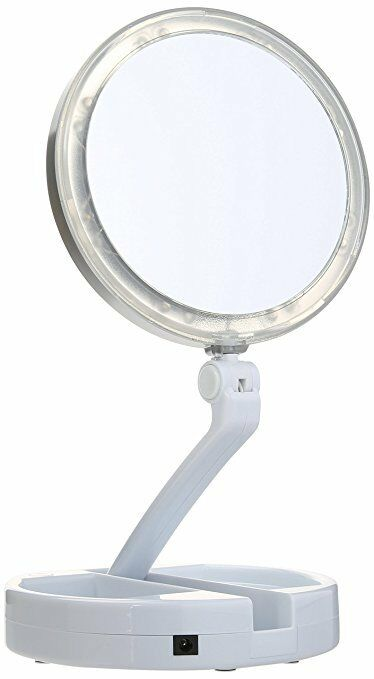Floxite 7504-12l 12x LED Lighted Folding Vanity and Travel Mirror, Weiß, Froste