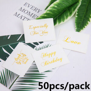Details About 50pcs Mini Gold Embossed Thank You Cards Wedding Invitation Letter Greeting Card