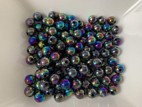 Acrílico perlas bala regenbogenschimmernd 100 unidades de 8 mm spacer joyas 142