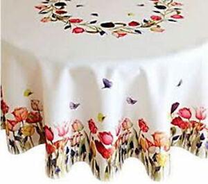 Tischdecke ca. 150 cm rund f. runder Tisch Tafel mit Druck TULPEN Frühling - NEU