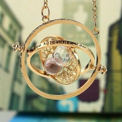 Hot Harry Potter Hermione Granger Rotating Time Turner Gold Hourglass Necklace