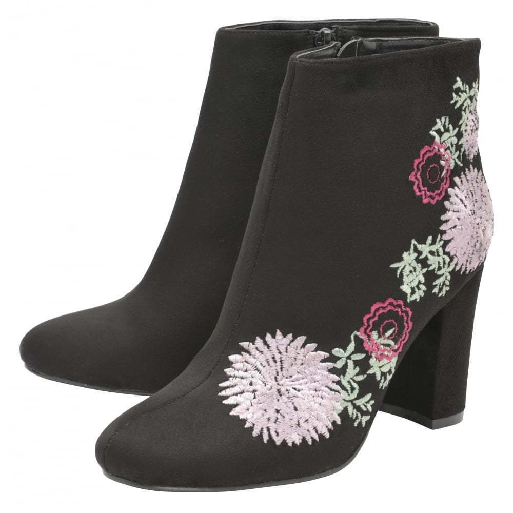 Dolcis Felicity Zip Ankle Boot Black Embroidered Faux Suede NEW  Size 4
