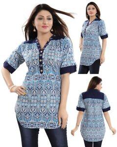 Unifiedclothes-Short-Kurti-Tunic-Top-Kurta-Shirt-Dress-Cotton-Blue-Printed-NK31