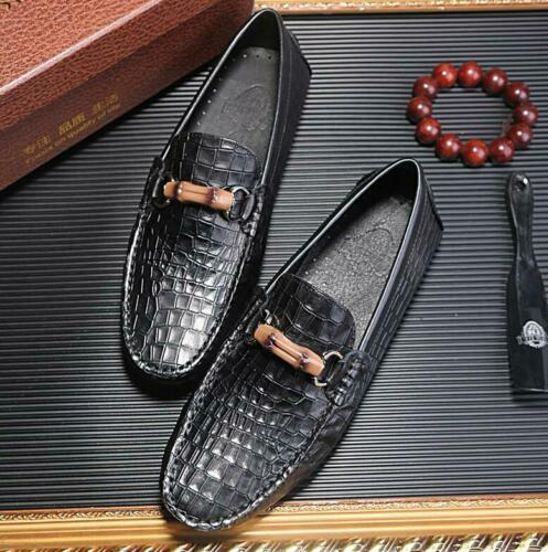New Mens Driving alligator Genuine Leather Dress Shoes Moccasin Slip On Loafers