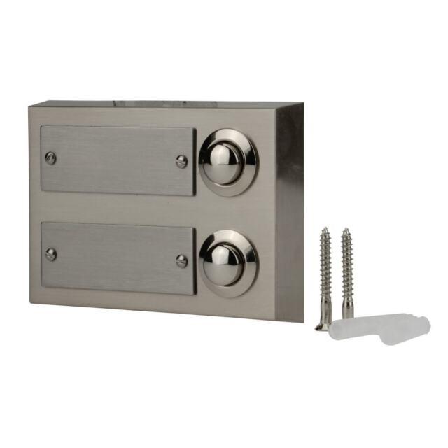 2fach Klingeltaster als aufputz Türklingel aus Metall mit Namensschild