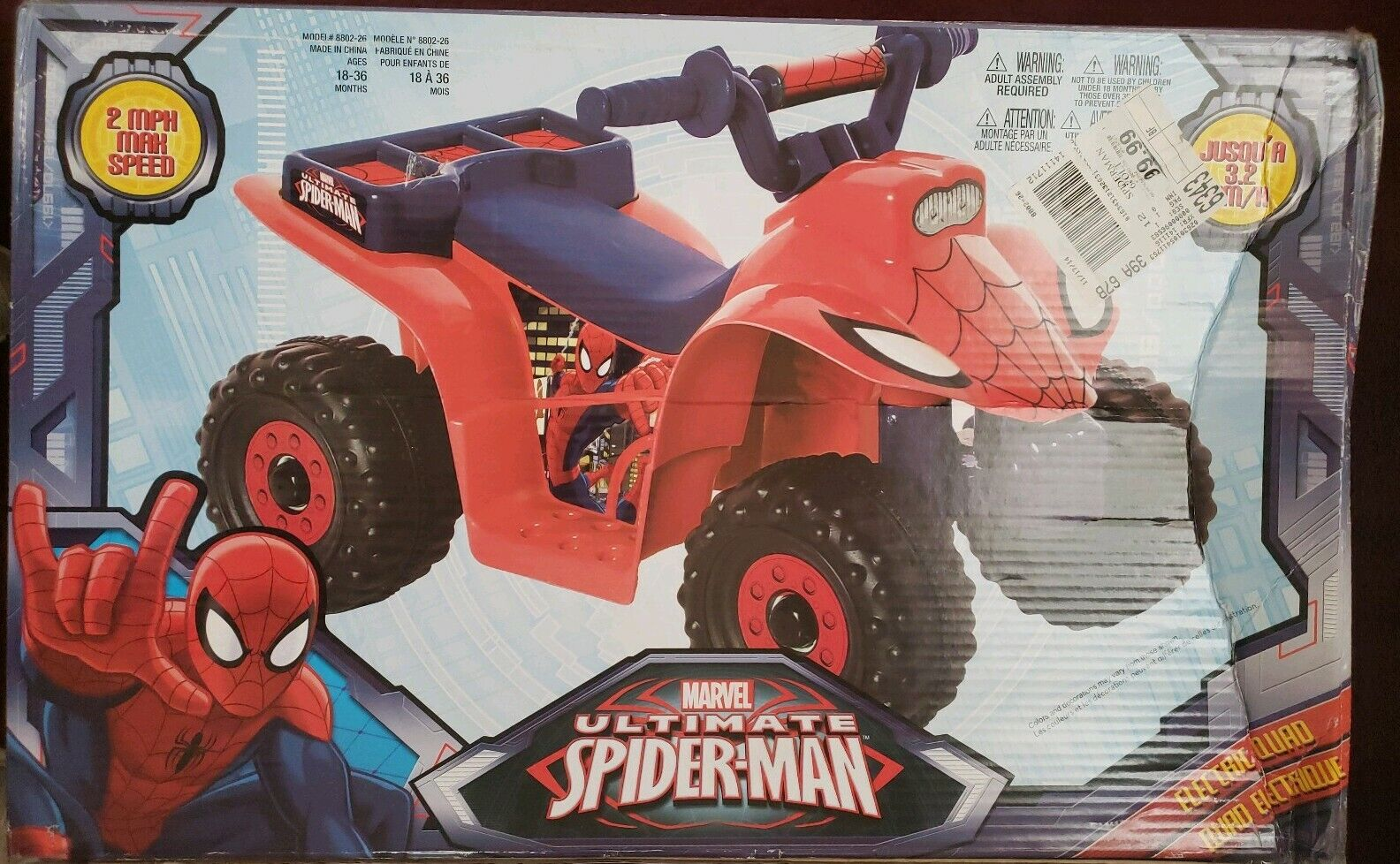 Ride On Toy Marvel Marvel Marvel Ultimate Spider-Man 6V Quad Riding Rechargeable Battery Read b8370a