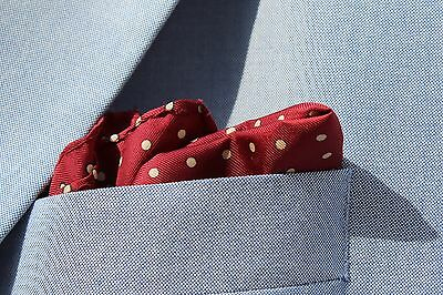 Gentleman's Maroon Dotted Silk Pocket Square / Handkerchief