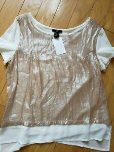 NWT-womens-H-amp-M-sparkly-shirt-size-S