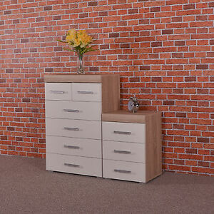 White-amp-Sonoma-Oak-4-2-Drawer-Chest-amp-3-Draw-Bedside-Cabinet-Bedroom-Furniture