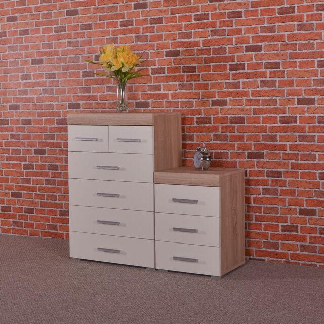White & Sonoma Oak 4+2 Drawer Chest & 3 Draw Bedside Cabinet Bedroom Furniture