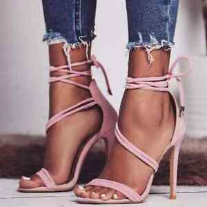 Womens-Heels-Lace-Up-High-Heels-Pink-Cute-Casual-Strappy-Summer-Evening-Sandals