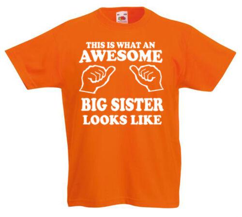 Awesome Big Sister T-Shirt 3-13yrs Gift girls birthday funny present kids