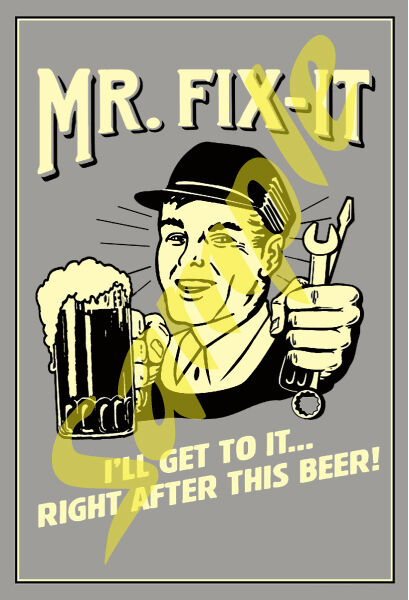 Toyhauler New Beer #03 Sticker of Antique Tin Sign Artwork for a Cooler Coozie