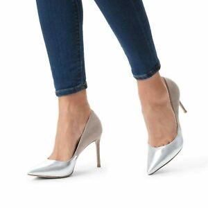 a639a2f6aca Details about Carvela Kurt Geiger Silver Beige High Heel Smart Work Evening  Court Shoes Sz 6