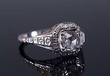 ART DECO SIGNED  ROSE CUT DIAMOND engagement ring white rose 18k engraved