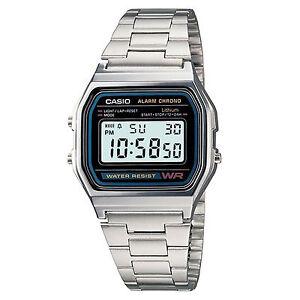 Casio-Uhr-A158WA-1DF-Retro-Digitaluhr-Armbanduhr-Herren-Damen-Schwarz-NEU-amp-OVP