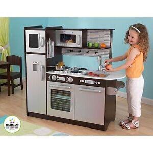 606212e5cfe91 KidKraft Kids Wooden Uptown Espresso Kitchen Pretend Play Fridge ...