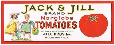 CRATE LABEL VINTAGE FLORIDA JACK  JILL TYPOGRAPHY 1940S ORIGINAL NURSERY RHYME