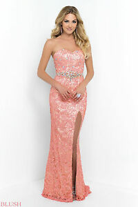 Blush Prom 9932 Color Coral Pink Size 6 8 Prom Dress Ebay