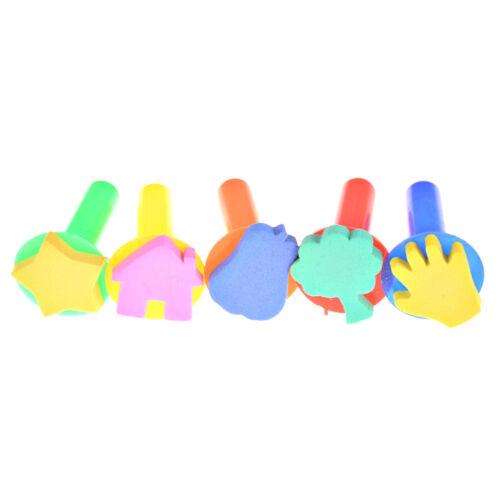 5Pcs DIY Graffiti Sponge Brush Tool Plastic Handle Children/'s Painting Toys  X