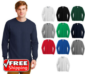 Gildan-Basic-Cotton-Long-Sleeve-T-Shirt-Mens-Blank-Casual-Plain-Tee-Sport-G540