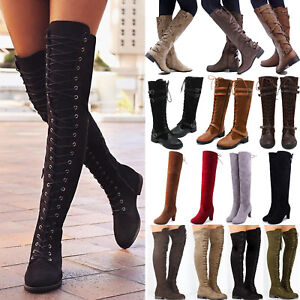 0d455d3b063 Ladies Womens Over The Knee High Low Gold Heel Boots Tassel Zip ...