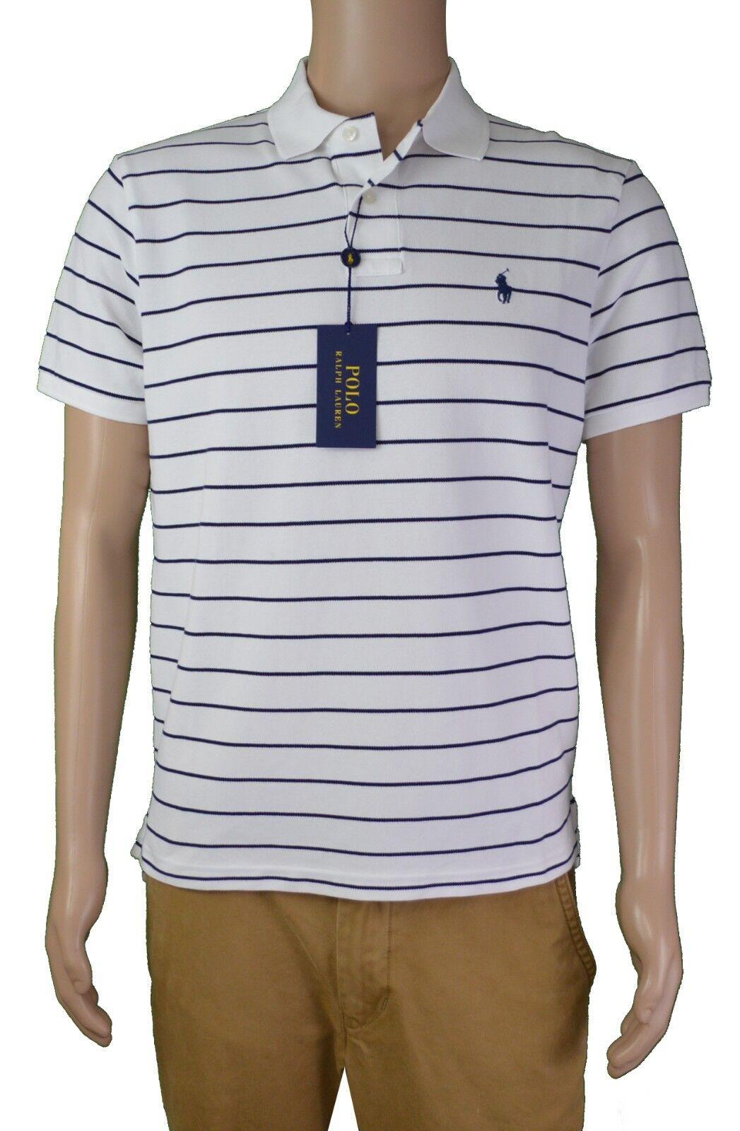 POLO Ralph Lauren Men's Classic Striped Short-Sleeve Polo Shirt (White Medium M)