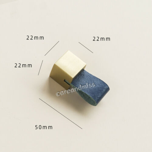 Affordable Luxury Dark Blue Leather Brass Cabinet Knob Drawer Pull Handles
