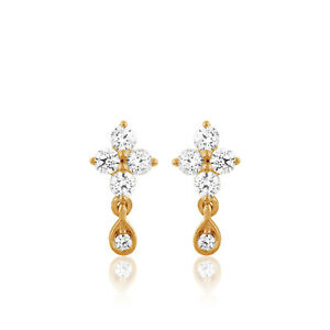 1-2-Ct-Round-Natural-Diamond-Solid-10k-Yellow-Gold-Cluster-Stud-Earrings-Ladies