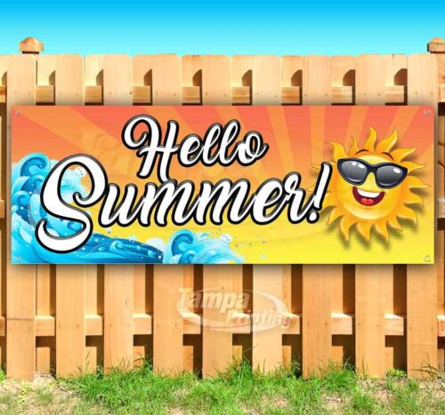 HELLO SUMMER Advertising Vinyl Banner Flag Sign Many Sizes