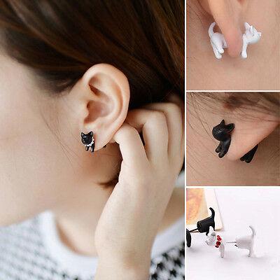 Chic 1Pc Punk Women Kawaii Stereoscopic Cat Kitten Impalement Pearl Stud Earring