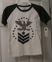 Boys White & Green Bugle Boy Sport Eagle Shirt Size 7