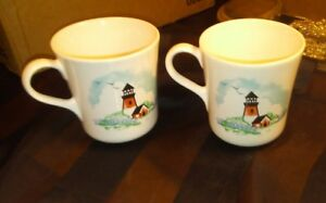 VTG 2 Corelle Coordinates Stoneware Coffee Tea Cups Mugs Outer Banks Lighthouses : corelle outer banks lighthouse dinnerware - pezcame.com