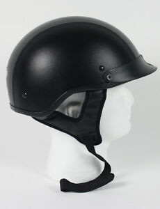 Leather Motorbike Bike Shorty Biker Half Dot Motorcycle Helmet